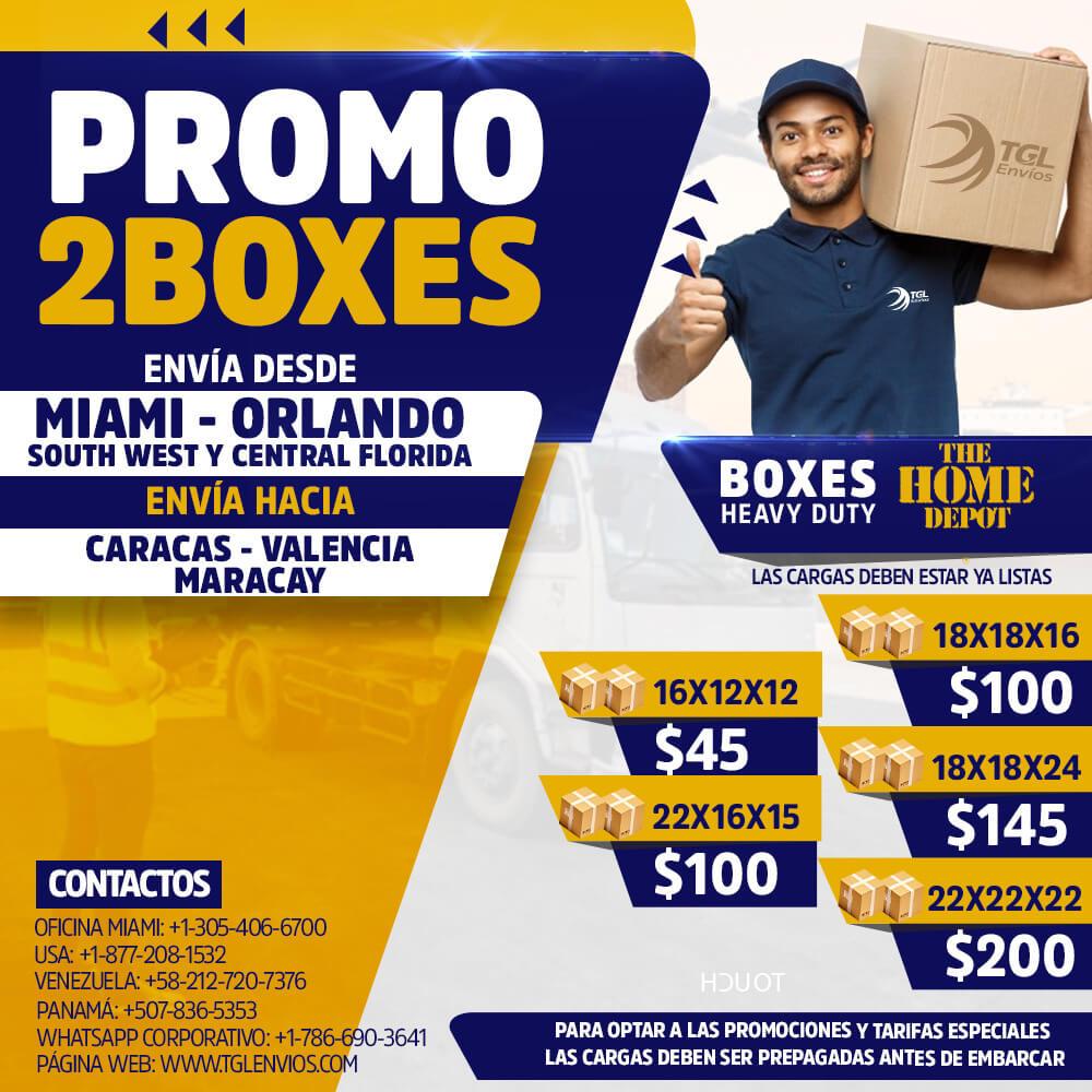 promo2boxes TGL Envios caracas home depot