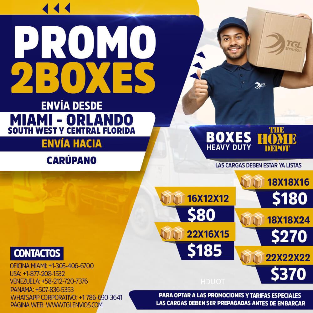 promo2boxes TGL Envios home depot carupano