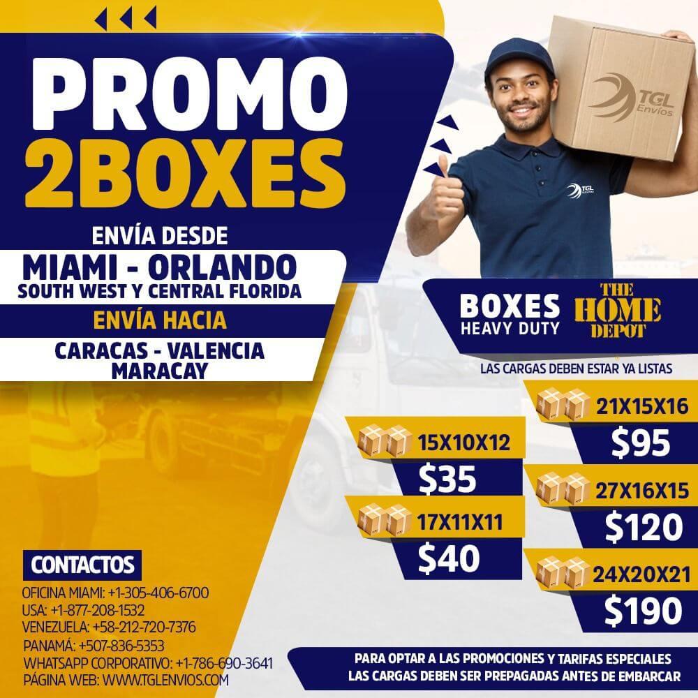tgl envios promo2boxes caracas